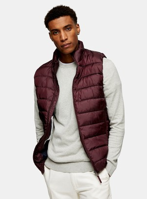 Topman SELECTED HOMME x Plastic Change Burgundy Recycled Puffer Gilet