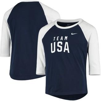 Nike Girls Youth Navy Team USA Raglan 3/4-Sleeve T-Shirt