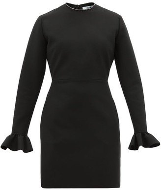 MSGM Ruffle-cuff Crepe Mini Dress - Black