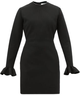 MSGM Ruffle-cuff Crepe Mini Dress - Womens - Black