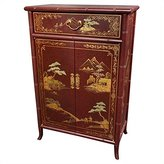 Oriental Furniture Fine Asian 36-Inch Japanese Bamboo Design Lacquered Oriental Shoe Cabinet