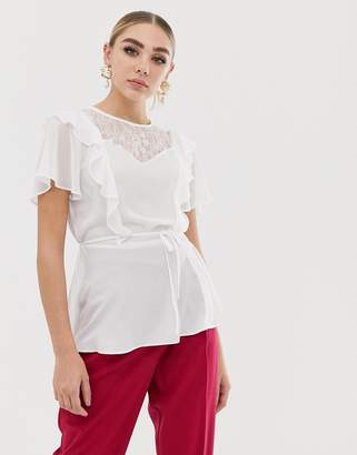 Lipsy sheer ruffle blouse-White