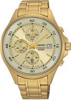 Seiko Men's Chronograph Special Value Gold-Tone Stainless Steel Bracelet Watch 43mm SKS482