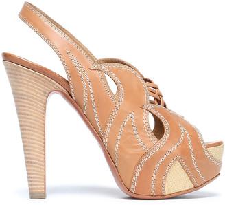 Alaia Cutout Leather Platform Sandals