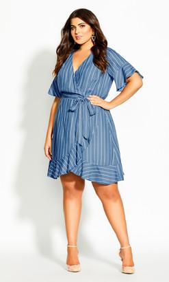 City Chic Denim Stripe Dress - chambray