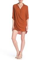 Lush Surplice Button Front Shirt Dress