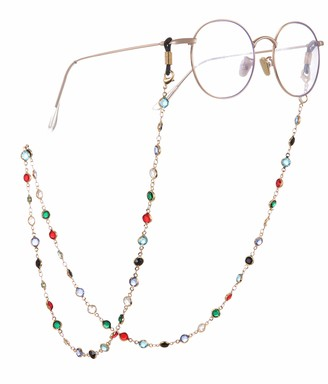 TEAMER Fashion Colorful Eyeglass Chain Sunglass Strap Eyeglass Holder Crystal Statement Beaded Reading Bohemian Glass Strap for Women Girls (Gold with Black Rubber)