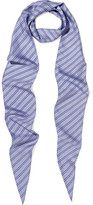 Balenciaga Striped Silk Scarf - Blue