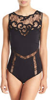 Gottex Sea Romance Embroidered Lace High-Neck One-Piece Swimsuit