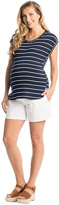 Everly Grey Elena Maternity/Nursing Top (Navy Stripe) Women's Clothing