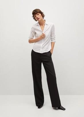 MANGO Micro print shirt white - 2 - Women
