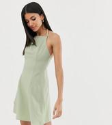 Asos Tall DESIGN Tall high neck low back mini linen sundress