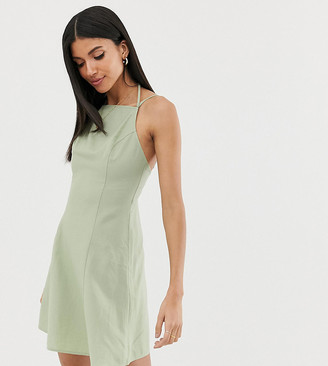 Asos Tall DESIGN Tall high neck low back mini linen sundress-Green