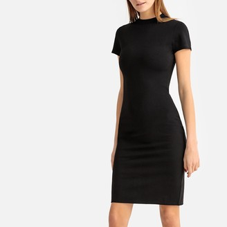 La Redoute Collections Bodycon Mid-Length Dress with Short Sleeves