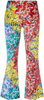 Ultràchic - printed flared cropped trousers - women - Cotton/Spandex/Elastane - 40