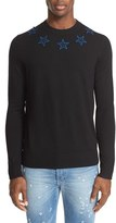 Givenchy Men's Star Applique Long Sleeve Wool Pullover