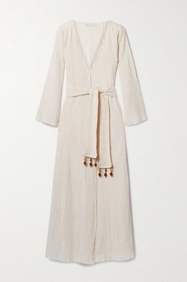 Savannah Morrow The Label Net Sustain Amity Embellished Belted Crinkled Organic Cotton-gauze Wrap Dress - Cream