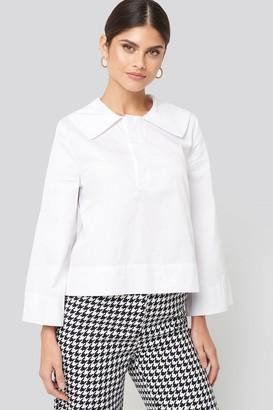 NA-KD Wide Collar Cotton Shirt White