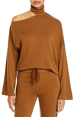 Enza Costa Mock Neck Cutout Sweatshirt
