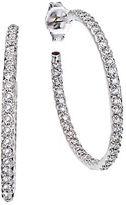 Roberto Coin Diamond and 18K White Gold Hoop Earrings, 1in