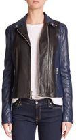 Vince Colorblock Leather Moto Jacket