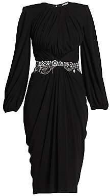 Alexander McQueen Women's Crystal Belted Ruched Jersey Dress