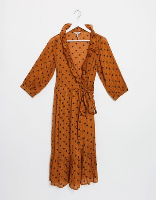 Object wrap dress with ruffle front in rust spot