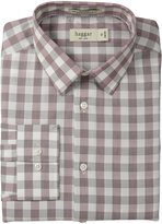 Haggar Men's Mechanical Stretch Gingham Fancy Poplin Long Sleeve Shirt