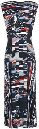 Cédric Charlier Pleated Printed Crepe Midi Dress