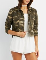 Charlotte Russe Camo Cropped Anorak Jacket