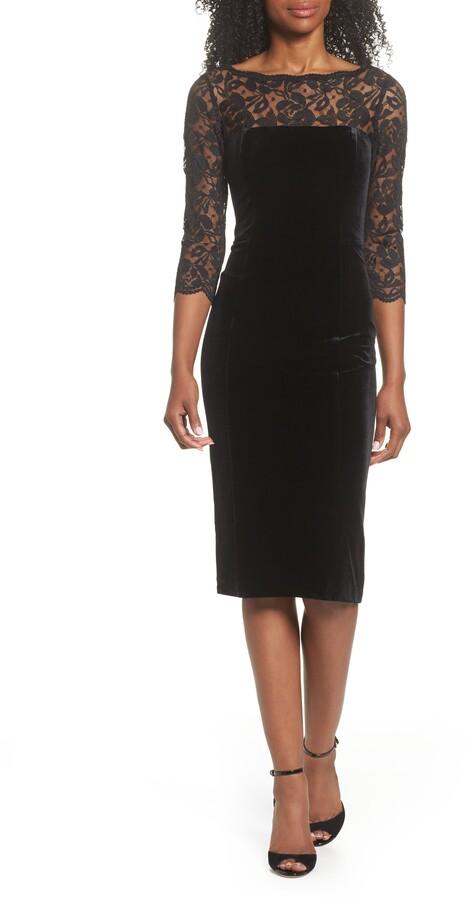 Eliza J Lace & Velvet Sheath Dress