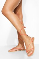 Thumbnail for your product : boohoo Leather Toe Post Wrap Up Strappy Sandals