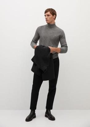 MANGO MAN - Textured turtle neck sweater grey - S - Men