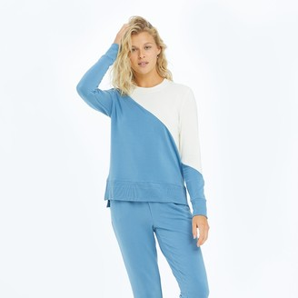 Summersalt The Softest French Terry Pullover - Blue Horizon & White Sand
