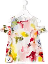 Simonetta floral print cold-shoulder top - kids - Polyester - 10 yrs