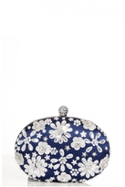 Quiz Navy Embellished Oval Clutch Bag