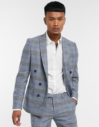 Twisted Tailor skinny suit jacket in blue check