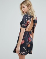 Oh My Love Tea Dress With Open Back In Floral Print