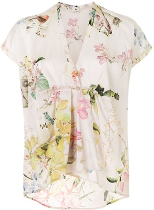 Colombo Floral-Print Empire-Line Blouse