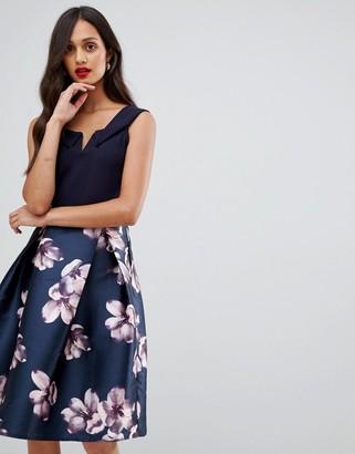 AX Paris bardot prom dress with contrast skirt-Navy