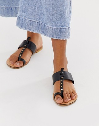 ASOS DESIGN Fellowship studded leather toe loop mules