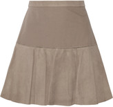 Halston Suede and jersey mini skirt
