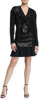 Diane von Furstenberg Mara Tiered Sequined Long-Sleeve Ruffle Dress