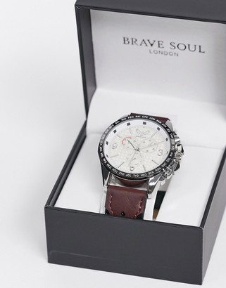 Brave Soul leather watch in black