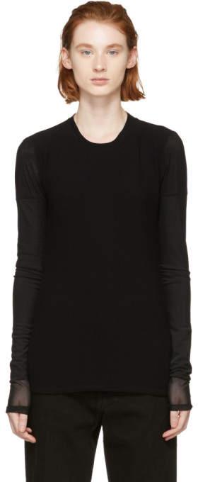 Proenza Schouler Black PSWL Top-Gauze Long Sleeve T-Shirt
