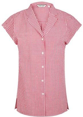 Naf Naf Short Sleeve Cotton Plaid Blouse