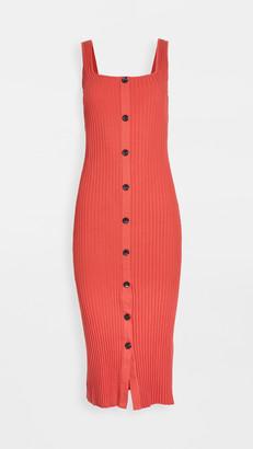 Enza Costa Military Rib Button Front Midi Dress