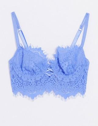Ann Summers Fearless longline lace bra in blue