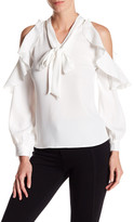Gracia Neck Tie Ruffle Sleeve Shirt