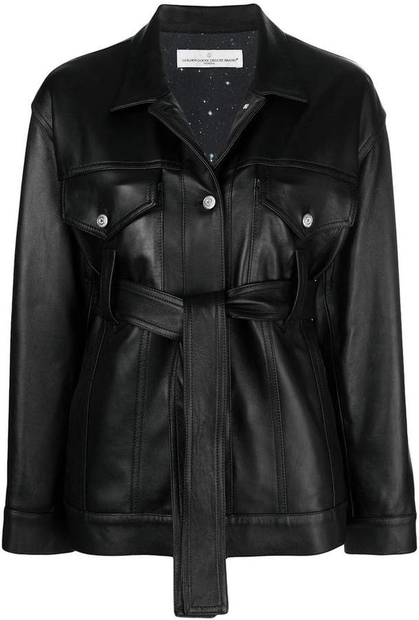 Golden Goose pictor leather belted jacket